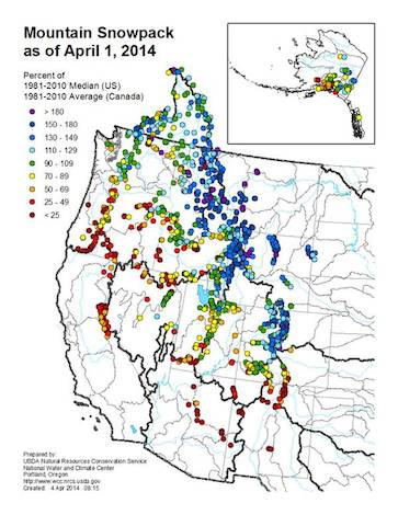 The USDA Natural Resources Conversation Service and the National Water and Climate Center issued its mountain snowpack update on April 1, 2014, which research climatologist Greg Jones said may likely be its final report this season for irrigators and the Pacific Northwest wine industry.