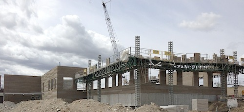 The Washington State University Wine Science Center is under construction in Richland, Washington.