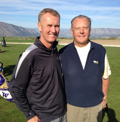 Course designer David McLay Kidd, left, and Orrin Vincent of OB Sports are optimistic that golfers will travel to Brewster, Wash., and enjoy playing Gamble Sands when it opens Aug. 1.