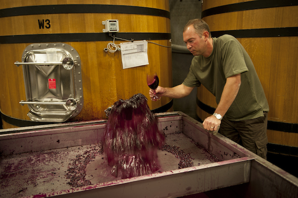 Gilles Nicault, head winemaker for Long Shadows Vintners in Walla Walla, Wash., samples some of his work.