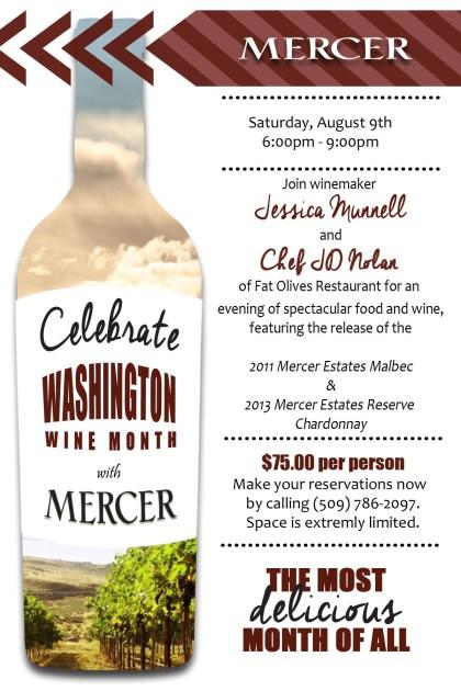 Mercer Estates winemaker dinner at Fat Olives