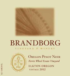 Brandborg Vineyard and Winery 2012 Ferris Wheel Vineyard Estate Pinot Noir label