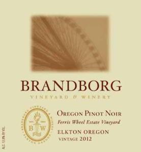 Brandborg Vineyard and Winery 2012 Ferris Wheel Vineyard Estate Pinot Noir label