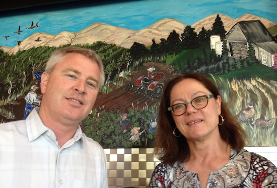 David O'Reilly, co-owner and winemaker for Owen Roe in Wapato, and Kay Simon of Chinook Wines serve as presenters for Wine Yakima Valley growers' luncheon on Monday, July 28, 2014 at Anthony's at Columbia Point in Richland, Wash.