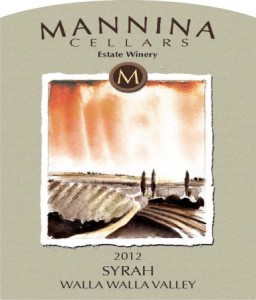 Mannina Cellars 2012 Syrah label