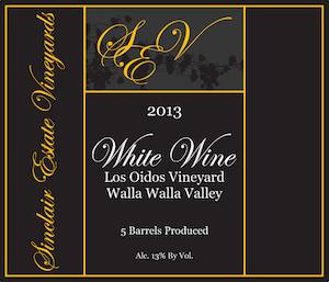 Sinclair Estate Vineyards 2013 Los Odios Vineyard White Wine label