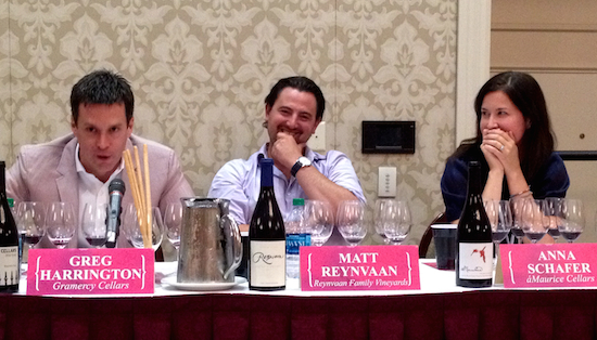 Greg Harrington of Gramercy Cellars inspires laughter from fellow winemakers Matt Reynvaan of Reynvaan Family Vineyards and Anna Schafer of áMaurice Cellars during the Winemaker Panel of Celebrate Walla Walla Valley Wine — The World of Syrah on Friday, June 20, 2014.