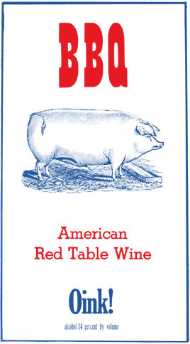 BBQ Wine Company Oink! Red Table Wine label