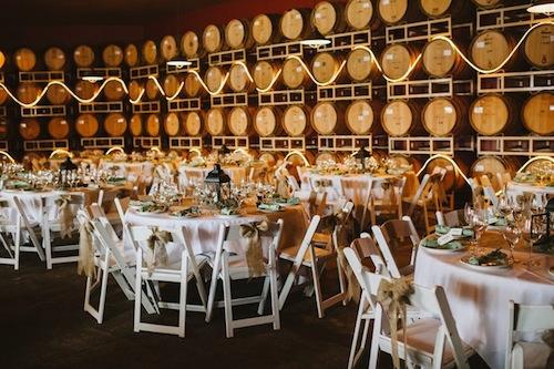 Bookwalter Winery's barrel room in Richland, Washington.