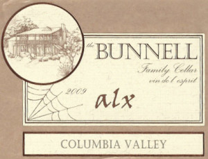 Bunnell Family Cellar Alx Syrah 2009 label