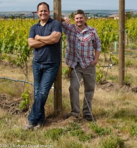 Brothers-in-law Corey Braunel, left, and Chad Johnson are co-owners and winemakers of Dusted Valley Vintners in Walla Walla, Wash.
