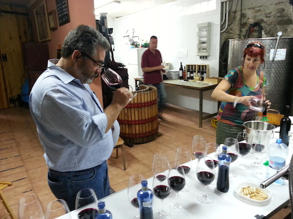 Dyson DeMara conducts blending trials my blend in Priorat with his old vine Carignan.