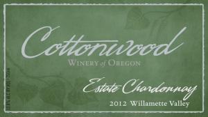 Cottonwood Winery of Oregon 2012 Estate Chardonnay label