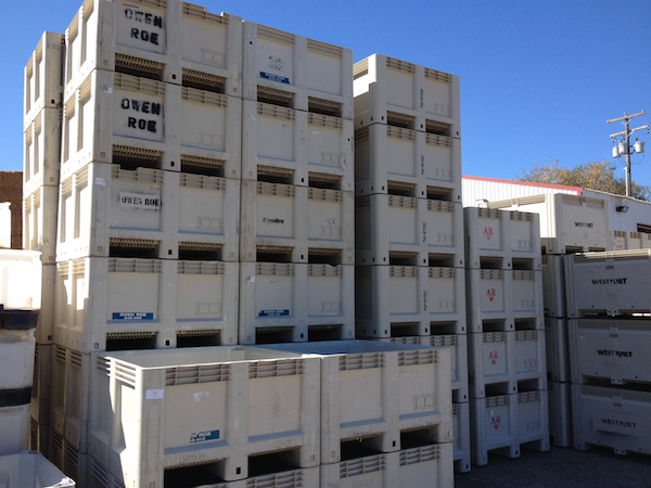 Harvest bins are stacked and ready to be filled at Red Willow Vineyard on the western edge of the Yakima Valley.