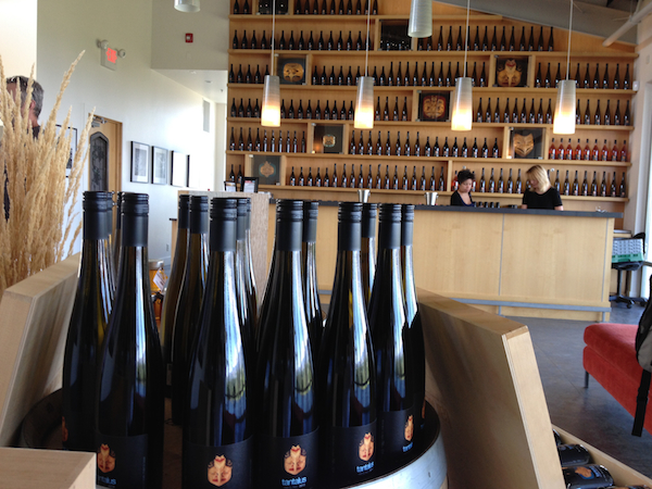 World-class Riesling from Tantalus Wines are presented in perhaps the tallest hock-style bottle in the Pacific Northwest. The Tantalus tasting room in Kelowna, British Columbia, also displays rare First Nations artwork.