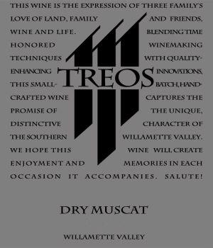Treos Wines Dry Muscat label
