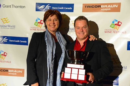 Okanagan Valley winemaker Dave Carson earned a photo opp with British Columbia premier Christy Clark when his See Ya Later Ranch 2012 Rover Shiraz-Viognier ($22) won best of show at the 2014 BC Wine Awards. (Photo by Csek Creative/Courtesy of OWFS)