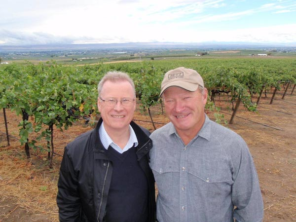 John Duval, left, of Penfolds Grange fame, relies on Yakima Valley grower Dick Boushey to produce much of the Syrah he makes under the Sequel brand for Long Shadows Vintners in Walla Walla, Wash.