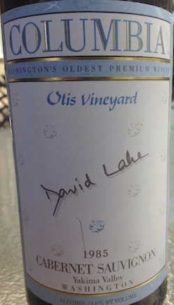 An Otis Vineyard Cabernet Sauvignon made in 1985 by David Lake of Columbia Winery. (Photo by Andy Perdue/Great Northwest Wine)
