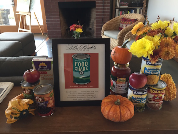 Bethel Heighs Vineyard in the Eola-Amity Hills is among those wineries in the Willamette Valley Wineries Association participating in Willamette Cares Food Share program.