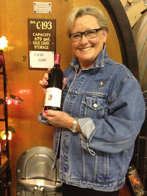 Ellena Conway stands in front of a barrique of her Ellena-Ellena, a food-friendly bottling of Cabernet Franc.