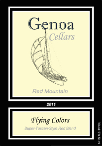 Genoa Cellars 2011 Flying Colors label