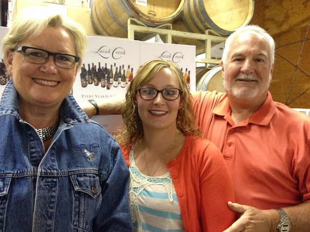 Mike Conway and his wife, Ellena, started Latah Creek Wine Cellars in 1982 in Spokane, Wash., and daughter Natalie, center, joined Mike in the cellars in 2004.
