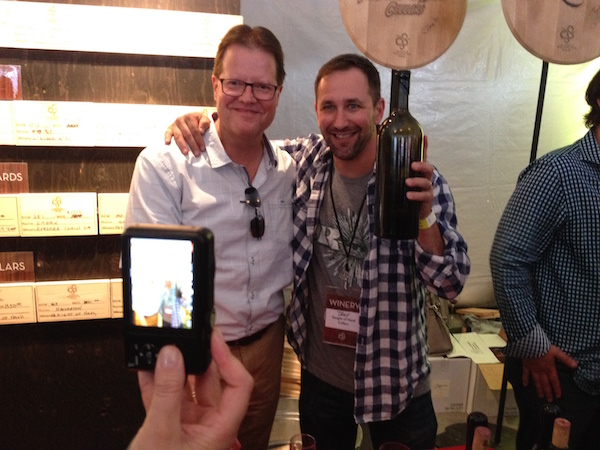 L'Ecole No. 41 winemaker Marty Clubb, left, and Trey Busch of Sleight of Hand Cellars, both in Walla Walla, pose for a photo during the 2014 Auction of Washington Wines barrel auction. Clubb also is in the second half of his two-year term as co-chair of the Auction of Washington Wines.