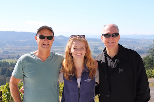 Cameron Healy, left, founder of Kettle Brand and Kona Brewing Co., has purchased full control of Scott Paul Wines from Scott Wright, right. Pirrie Wright, Scott's daughter, is flanked by the two longtime business partners.