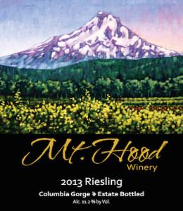 Mt Hood Winery 2013 Riesling label