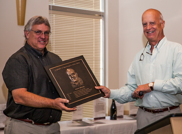 Roger Gamache, left, presents Allen Shoup with his plaque during the 2014 induction ceremony into the Legends of Washington Wine Hall of Fame in Prosser. (Photo by Cherished Moments Photography)