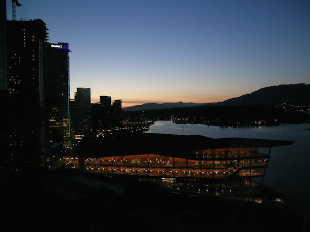 The Vancouver Convention Center overlooks Coal Harbour in Vancouver, British Columbia.