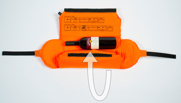 WineHug's self-inflating design provides protection for bottles in checked luggage. (Photo courtesy of WineHug.com)