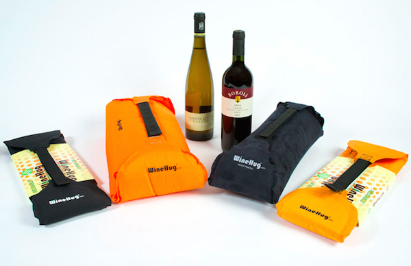 WineHug offers protection for bottles and comes in a variety of sizes and colors. (Photo courtesy of WineHug.com)