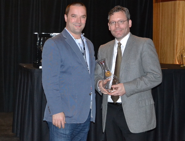 Chris Horn of Heavy Restaurant Group receives the Sommelier of the Year from Chris Stone and the Washington State Wine Commission on Jan. 27, 2015, in Seattle.