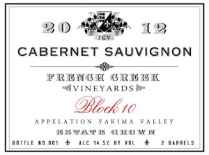 French Creek Vineyards 2012 Estate Block 10 Cabernet Sauvignon label