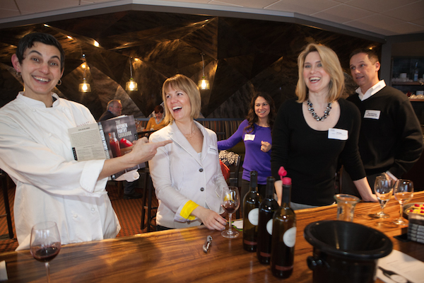 Chef/author Becky Selengut, left, Mercer Estates winemaker Jessica Munnell, center, and chef/author Erin Coopey share a laugh during the 2014 Women Stars of Food and Wine in Seattle.