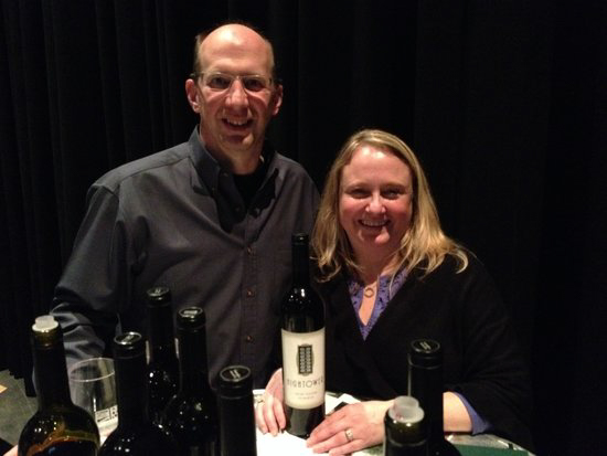 Tim and Kelly Hightower of Hightower Cellars on Red Mountain pour at Secret Crush, a new Wine Yakima Valley event, on Friday, Feb. 13. The event marked the beginning of Red Wine and Chocolate Weekend with an evening featuring some of the valley's highest-rated wines served at the Fourth Street Theatre in downtown Yakima. The event was catered by executive chef Roger Hazzard of Bon Vino's Bistro and Bakery in Sunnyside. (Photo by Eric Degerman/Great Northwest Wine)