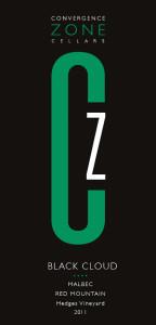 Convergence Zone Cellars 2011 Black Cloud Malbec label