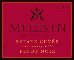 Methven Family Vineyards 2010 Estate Cuvee Pinot Noir label