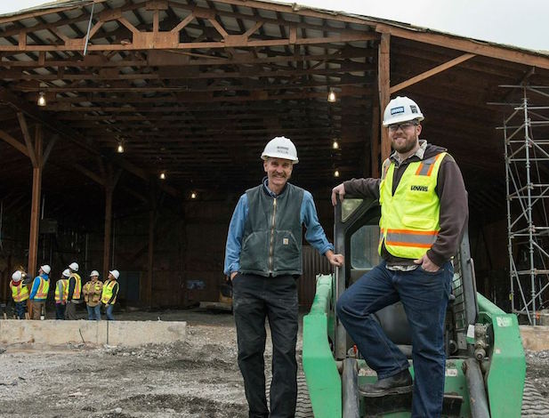 Argyle founding winemaker Rollin Soles, left, and his replacement, Nate Klostermann, monitor the remodeling and construction at the Dundee, Ore., tasting room.