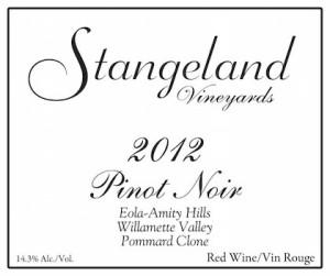 Stangeland Vineyards 2012 Pommard Clone Pinot Noir label