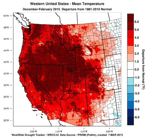 The WestWide Drought Tracker indicates the mean temperature during the winter months of 2014-15 and its departure from the 1981-2010 norm.