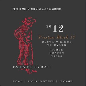 Pete's Mountain Vineyard & Winery-2012-Destiny Ridge Vineyard Tristan Block 17 Syrah