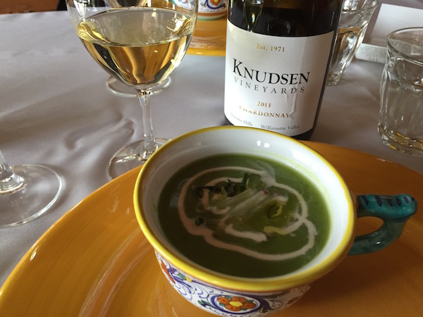 The Knudsen Vineyards 2013 Chardonnay from the Dundee Hills makes for a delicious pairing with Chilled English Pea Soup with Green Garlic Mint and Creme Fraiche by Valley Commissary in McMinnville, Ore.