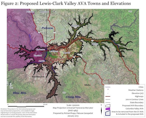 The Lewis-Clark Valley AVA would resect part of the Columbia Valley AVA.