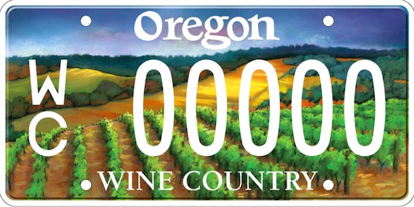 The upper portions of Knudsen Vineyards, which was established in 1971, serve as the backdrop for the Oregon Wine Country license plate.