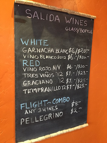Salida Wine Bar in Yelm, Wash., offers Doug McCrea's Spanish-inspired wines by the glass and the bottle. (Photo by Eric Degerman/Great Northwest Wine)