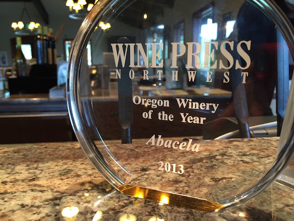 Abacela earned Wine Press Northwest's award for Oregon Winery of the Year in 2013 after its Albariño, Grenache Rosé and Port received top awards at the 2012 Platinum Judging of Pacific Northwest gold-medal wines.