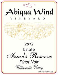 Abiqua Wind Vineyard 2012 Isaac's Reserve Pinot Noir label